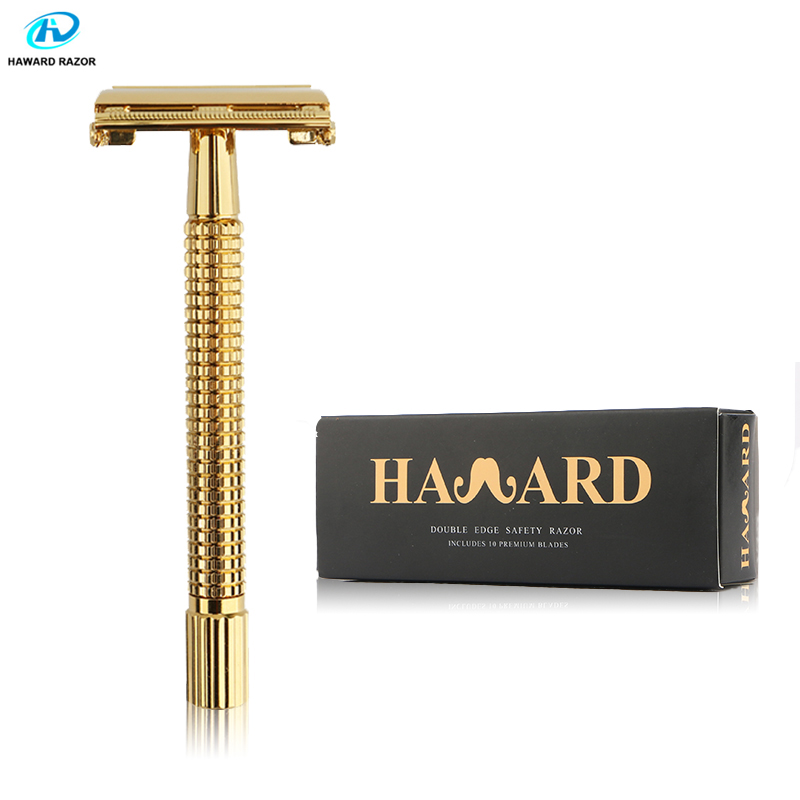 HAWARD Safety Razor Men's Double Edge Shaving Razor Golden Handle Butterfly Razor Classic Manual Hair Removal Shaver 10 Blades
