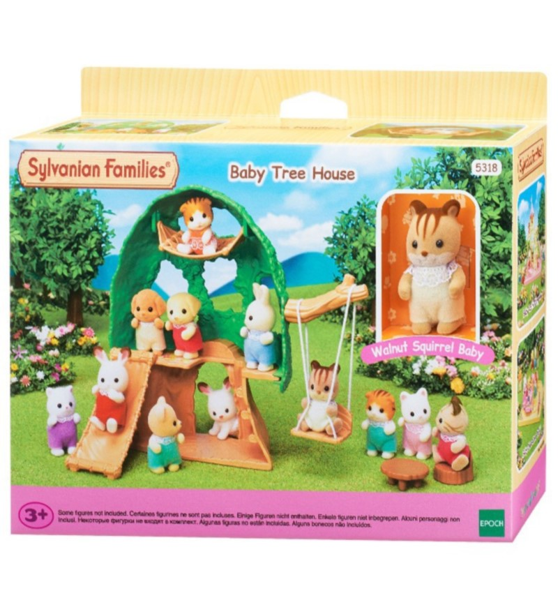 Sylvanian Families Toy Kindergarten Tree Cabin Contains Baby Squirrel High 15cm Girl's Play House Doll Mushroom Tree House 5318
