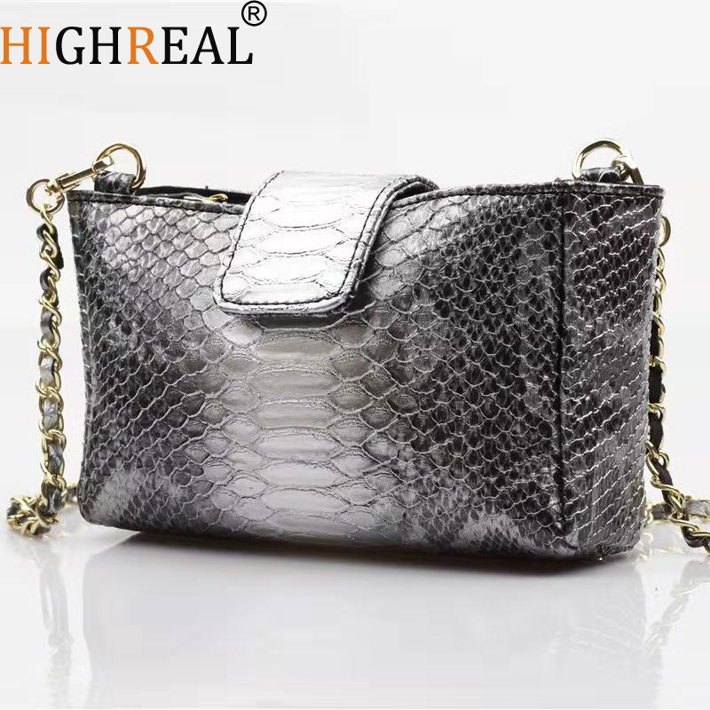HIGHREAL New Fashion Snake Chain Shoulder Bags High Quality Serpentine Pattern Crossbody Bag Travel Bag Dropship in Top Handle Bags from Luggage Bags