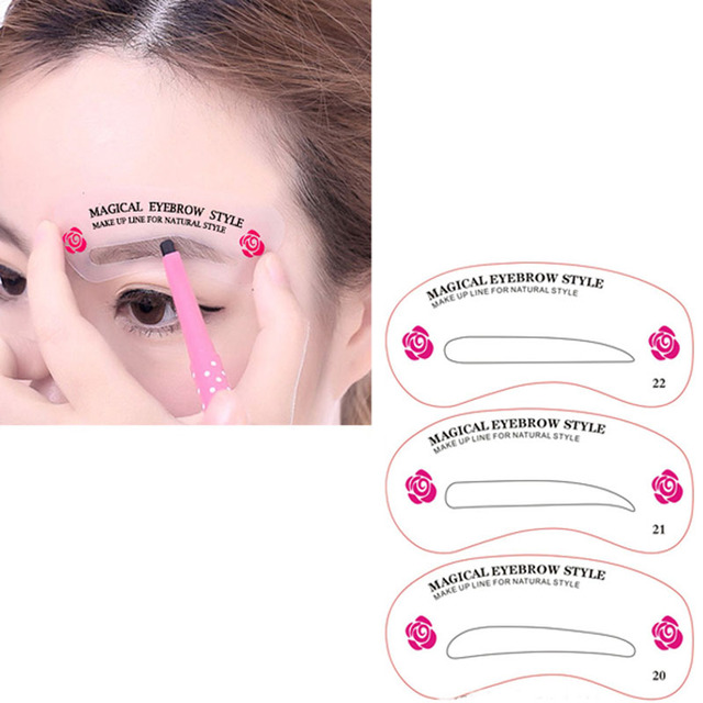 New 24 Pcs Reusable Eyebrow Stencil Set Eye Brow DIY Drawing Guide Shaping Grooming Template Card Easy Makeup Beauty Kit SCI88 1