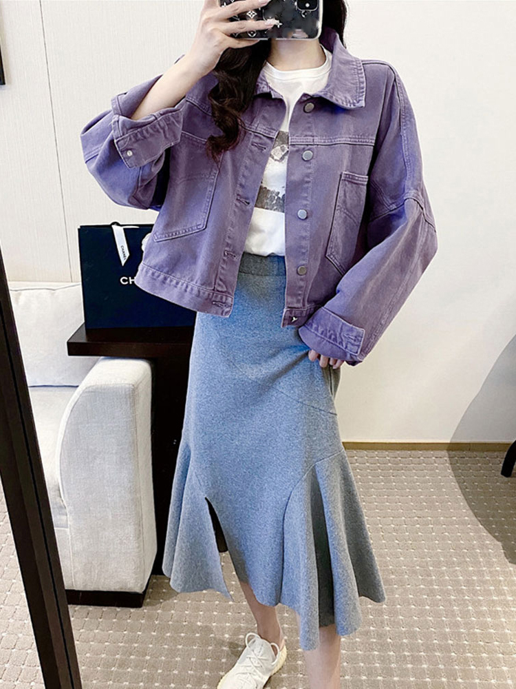 Jean Jacket Short Turn-Down-Collar Fashion Coats Korean-Style Purple Women Denim Solid