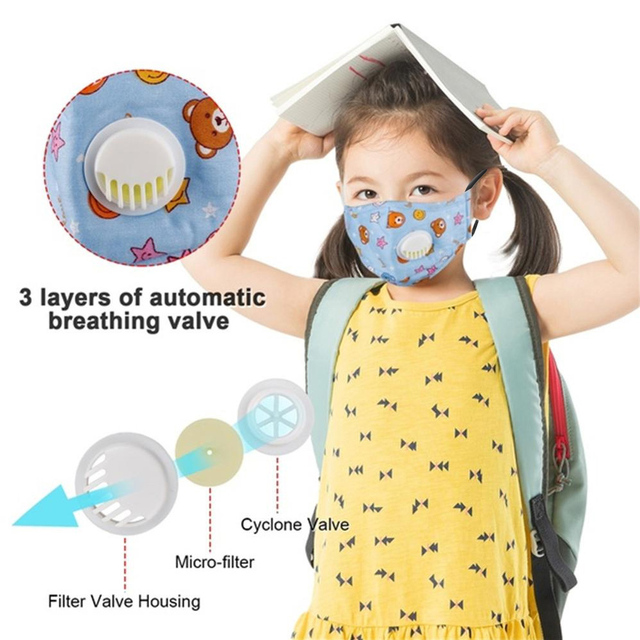 Tcare Reusable Kids Children Mask with 2 Filters Mouth Mask Haze Dust Pm 2.5 Face Mask Breathable Valves Kids Mask 3