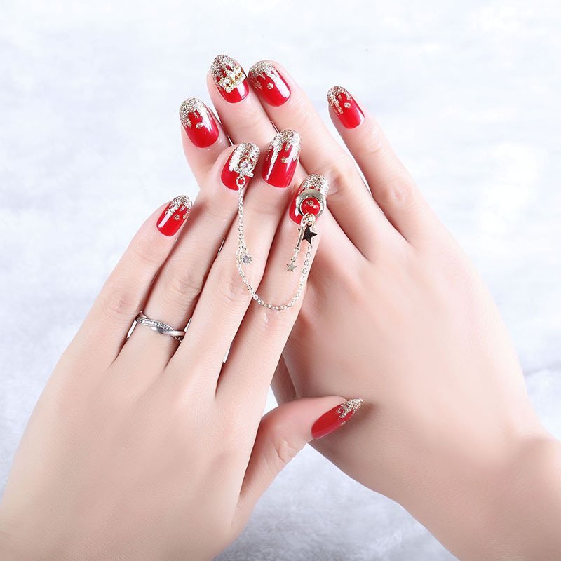 Online Celebrity Wear Manicure Finished Product Fake Nails Red Volcano Shimmering Powder Pendant Chain Bride Manicure Stickers S