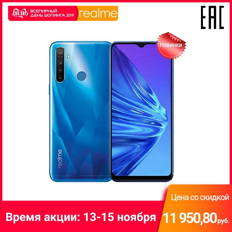 Smartphone realme 5 64 gb, câmera quadro, bateria de capacidade 5000 mah, apresse-se para obter cupom extra para 1100 rublos
