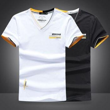 Summer new 2020 men's short sleeve T-shirt, chicken heart, V-neck trend, white ice silk, half sleeve cotton clothes, t-fashion b