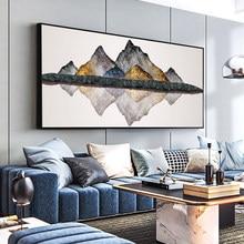 DDWW-pinturas abstractas en lienzo de piedra de montaña dorada, póster de impresión de gran tamaño, pintura al óleo para sala de estar, Hogar Moderno