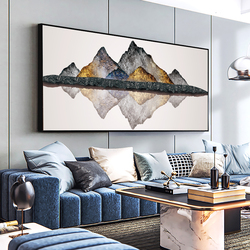 DDWW Golden Mountain Stone Abstract Canvas Paintings Large Size  Print  Poster Oil Painting for Living Room Modern Home
