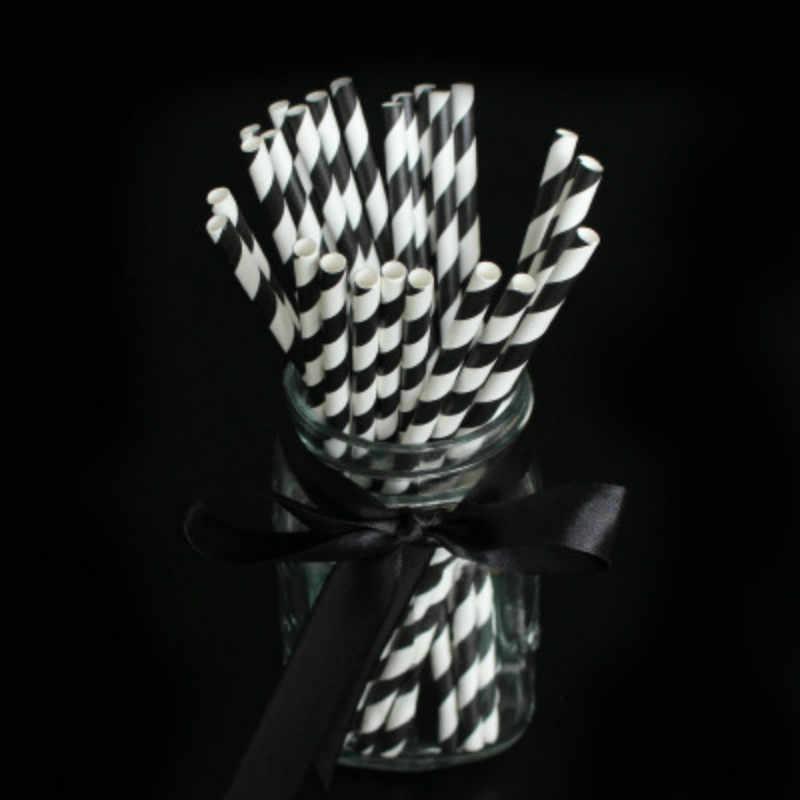 RIDAY 15 unids/lote pajitas de cumpleaños desechables de papel ondulado rayado negro rojo verde blanco para fiestas @ 2