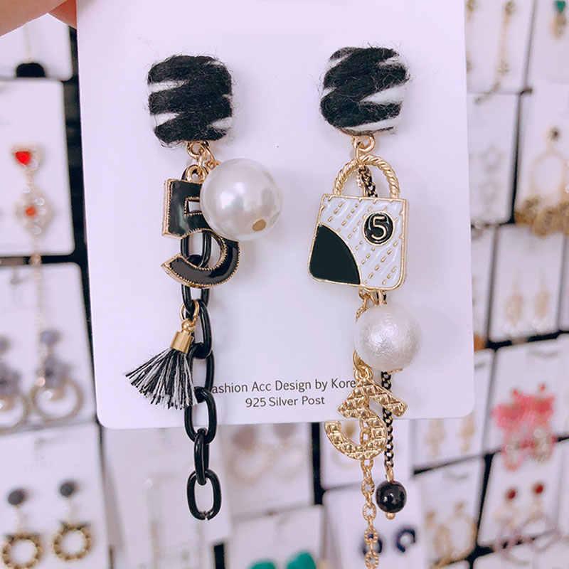 Новые роскошные брендовые серьги-гвоздики с буквенным принтом и бантиком, модные жемчужные серьги с бахромой и жемчугом для вечеринки и свадьбы
