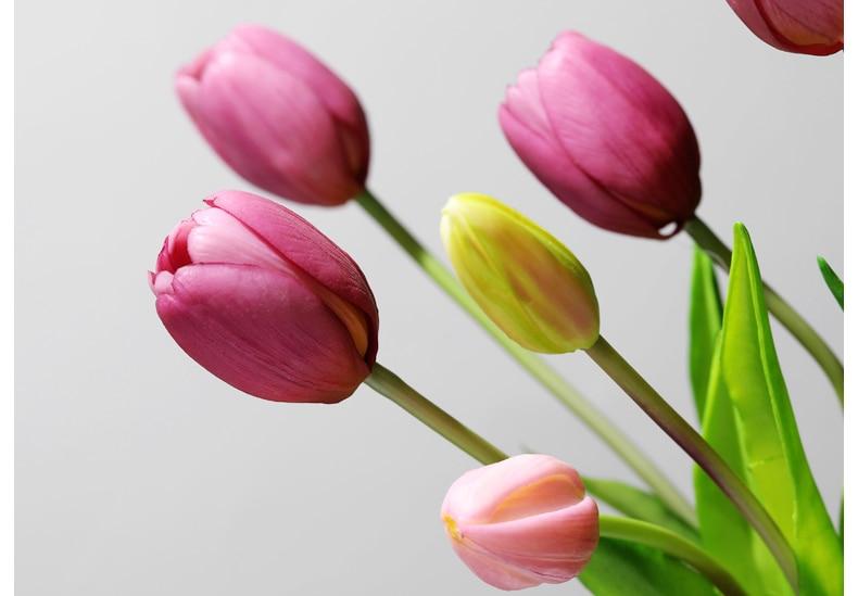 JAROWN 5 Heads Tulip Artificial Flower Real Touch Artificial Bouquet Fake Flower for Wedding Decoration Flowers Home Garden Decor (123)