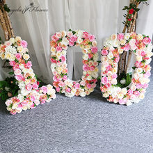 Creative personnalisé fleur artificielle mur lettre numéro bricolage fête d'anniversaire événement mariage décoration boutique fenêtre affichage soie fleur