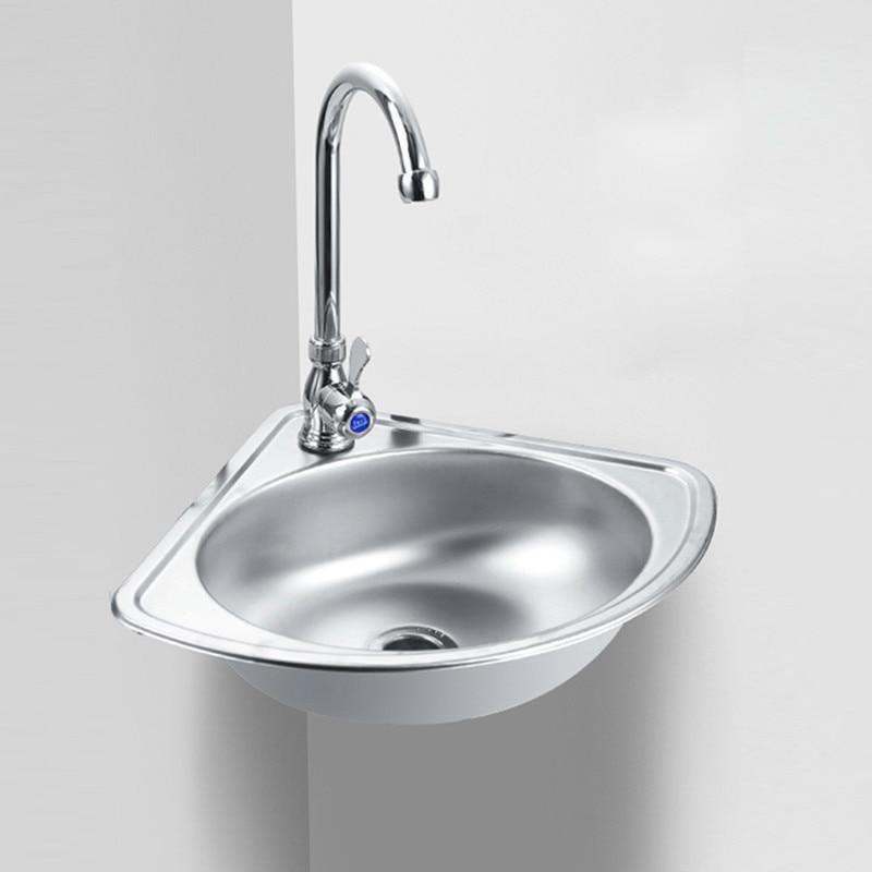 Aço inoxidável triângulo bacia canto fixado na parede cozinha vegetal pia de lavagem única bacia lavatórios do banheiro mx9091004