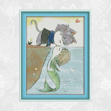 Joy Sunday Cross Stitch Sets Cat and fish kiss Aida Fabric 14ct 11ct Embroidery kit DIY Handmade Needlework(China)