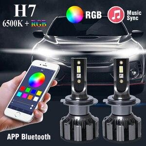 Автомобильный светодиодный RGB светильник H7, с приложением, управление через Bluetooth, противотуманный светильник, лампа s, модуль лампы, автомоб...