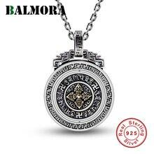 BALMORA 925 Ayar Gümüş Budizm Altı Words Sutra Vajra Dönebilen Kolye Kadın Erkek Takı için bir Zincir Olmadan