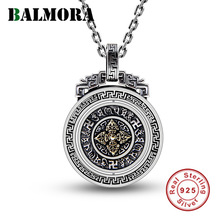 BALMORA 925 Sterling Silver Buddhism Six Words Sutra Vajra Rotatable Pendants for Women Men Jewelry Without a Chain