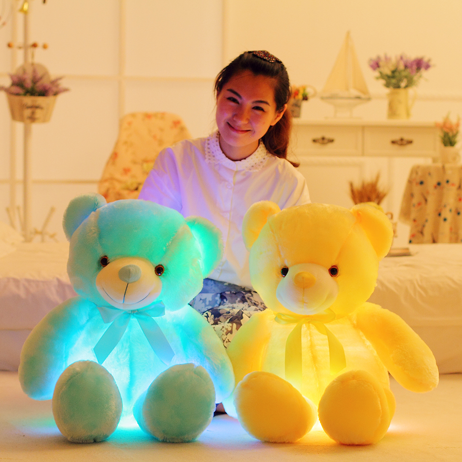 LED Teddy Bear Stuffed Animals Plush Toy Colorful Glowing Christmas Gift for Kids Pillow Just6F