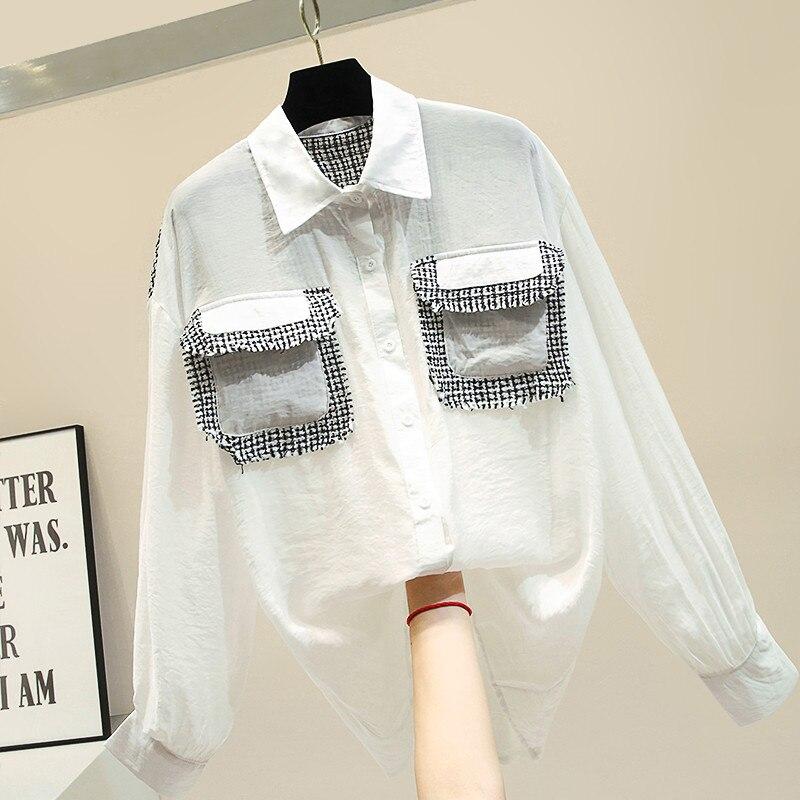 2019 automne blanc chemise fille rétro épissé poche à manches longues Blouse femmes lâche chemises décontractées dames élégantes Blouses haut basique