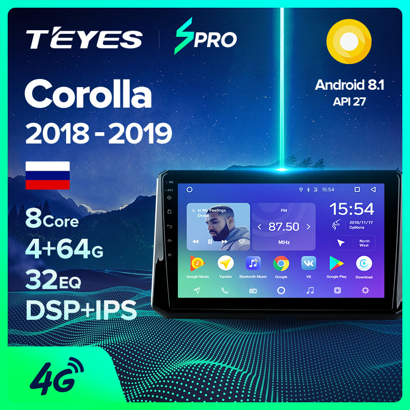 TEYES SPRO Штатная магнитола для Тойота Королла Toyota Corolla 2018 2019 Android 8.1, до 8 ЯДЕР, до 4 + 64ГБ 32EQ + DSP 2DIN автомагнитола 2 DIN DVD GPS мультимедиа автомобиля головное устройство|Мультимедиаплеер для авто|   | АлиЭкспресс