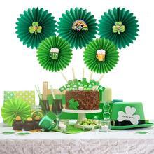 5pcs St Patricks Day Paper Fans Decorative Rosettes DIY Crafts Irish Party Shamrock Beer Hanging Decoration Backdrop