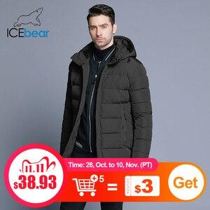 Image 1 - Icebear 2019 冬のジャケットの男性帽子着脱式暖かいコート因果パーカー綿の冬のジャケット男性服MWD18821D