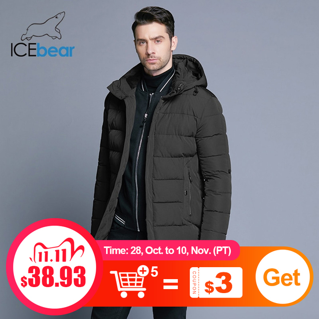 Icebear 2019 冬のジャケットの男性帽子着脱式暖かいコート因果パーカー綿の冬のジャケット男性服MWD18821D