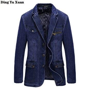 2020 Spring Autumn Mens Casual Denim Blazer for Men Slim Fit Blazer Masculino Jeans Suit Coat Hombre Winter Cotton Veste Homme