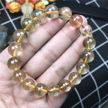 11mm Genuine Natural Brazil Gold Hair Rutilated Bracelet Jewelry For Women Men Crystal Round Beads Stretch Fashion Bracelet AAAA