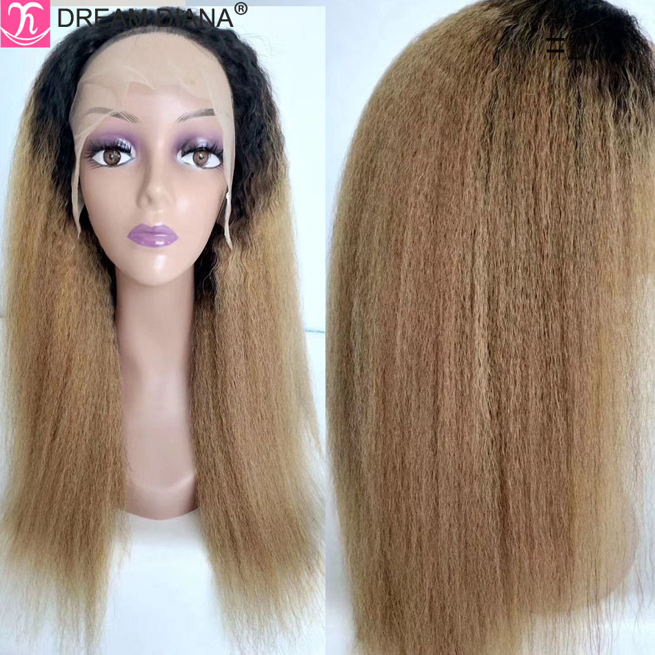 DreamDiana Remy Kinky Straight Wig 8-28 150 Density Malaysian Wigs 13x4 Lace Front Wig Human Hair Ombre Human Hair Wig Low Ratio