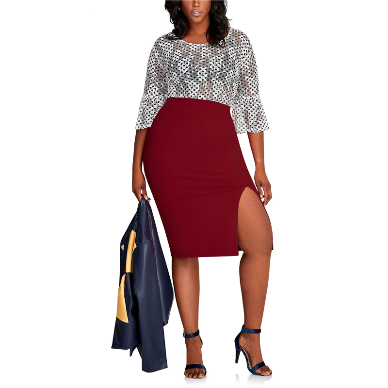 CACNCUT Big Size High Waist Bag Thigh Skirt Business Casual Skirt For Women 2019 Plus Size Bodycon Pencil Office Skirt Black 6XL 5