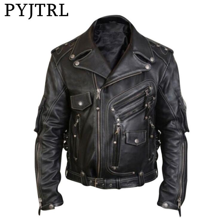 PYJTRL New Men Autumn Zipper PU Leather Jacket Men's Coat