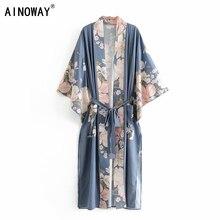 Boho Vintage tavuskuşu çiçek baskı Sashes kadınlar bohemian V boyun batwing kollu bayan bluzlar mutluluk Maxi Kimono elbise