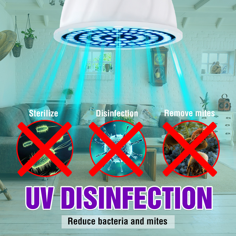 E14 UV Light Disinfectant E27 UVC Light Bulb LED GU10 Ultraviolet Sterilizer Lamp MR16 Germicidal LED Bulb 48 60 80led B22