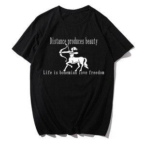 Женская футболка из 100% хлопка с принтом «Стрелец», Повседневная футболка с круглым вырезом и короткими рукавами, черно-белая футболка с гра...