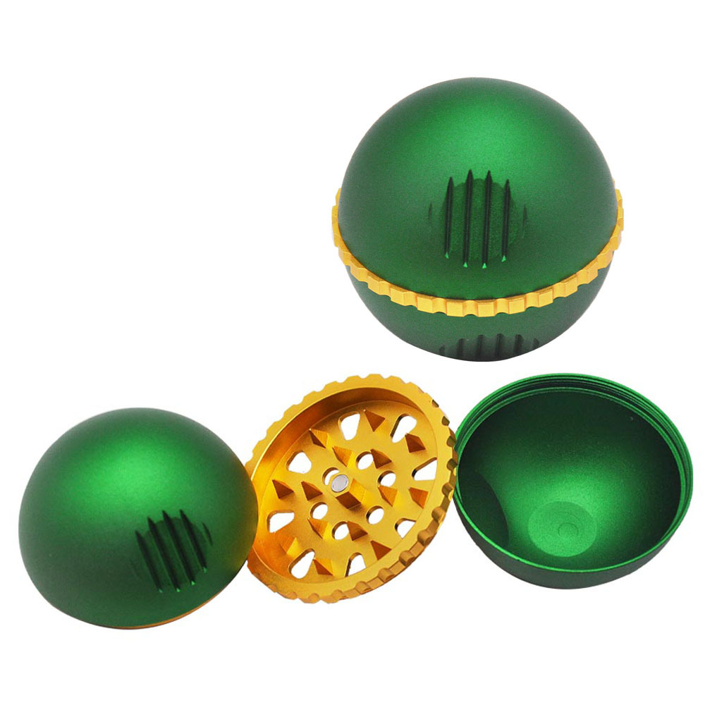 New 3 Piece metal ball type grinding machine 63mm zinc alloy grinder herb grinder With Pollen Scraper