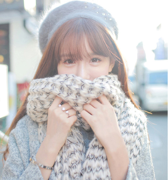 Mohair Scarf Women's Long Thick Korean-style Autumn & Winter New Style Couples Scarf Men's Knitted Yarn Shawl Dual Purpose