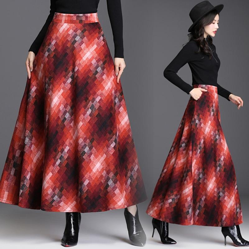 Women A-Line Maxi Skirt Elegant Plaid Elastic Waist Long Skirt Autumn Winter Warm Female Umbrella Skirt Plus Size Mixed Color