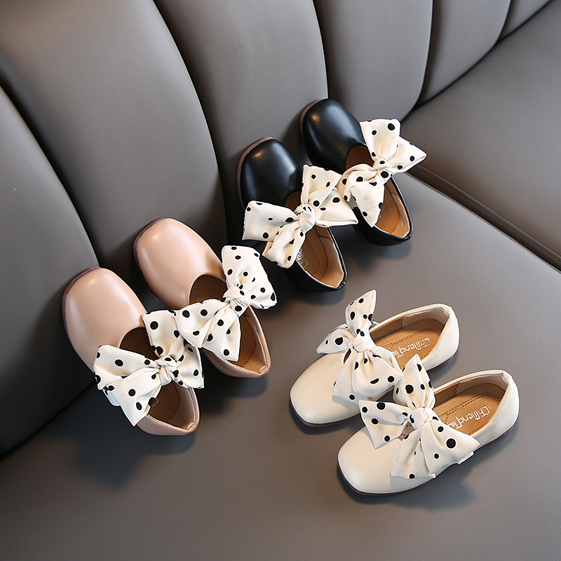 Children Leather Sandals 2020 Fashion Sandals Kids Summer Girls Shoes Bow&Dot Child Sandals White&Black&Pink Shoes Girls D01061