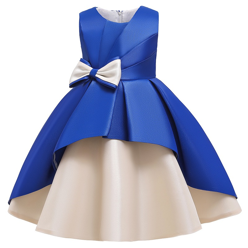 Girls Dresses Retro Formal Wedding Gown Big Bow Princess Dress Flower Girls Children Clothing Kids Party For Girl Clothes