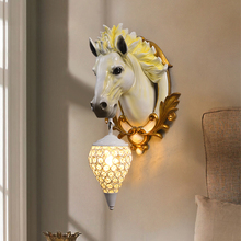 Modern Lucky Horse Resin Wall Lamp Nordic Bedroom Living Room Holiday Home Decor Vanity Light Wall Sconce Lamp Light Fixtures