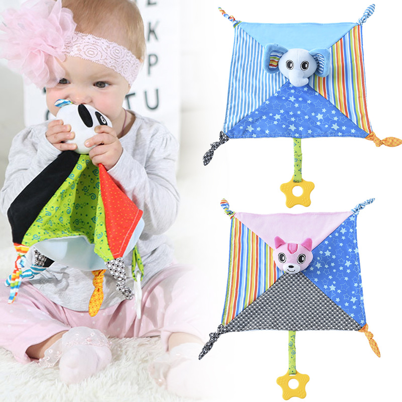 Baby Comforting Blanket Soft Square Plush Appease Towel Cute Cartoon Teether NSV775