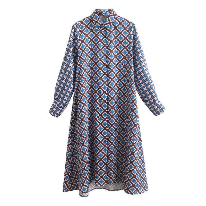 2019 Women Summer Vintage Print Dress Long Sleeve Turn-down Collar Buttons Dresses Female Elegant Straight Shirts Dress Vestidos