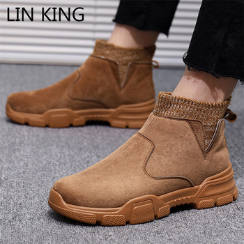 LIN KING New Design Men Chelsea Boots High Top Work Safety Shoes Thick Sole Outdoor Short Boots Waterproof Ankle Botas For Male heinrich hot sale new fashion luxury men slip on boots men brand male chelsea ankle boots botas militares botas de combate