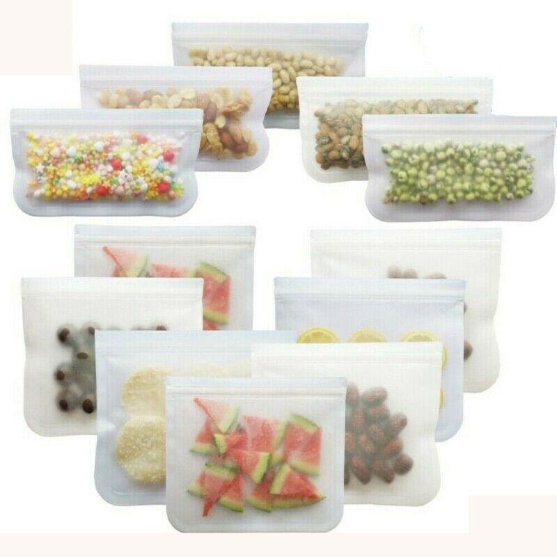 12Pcs Reusable Silicone Food Storage Bags Stasher Wrap Seal Bowl Vacuum  !