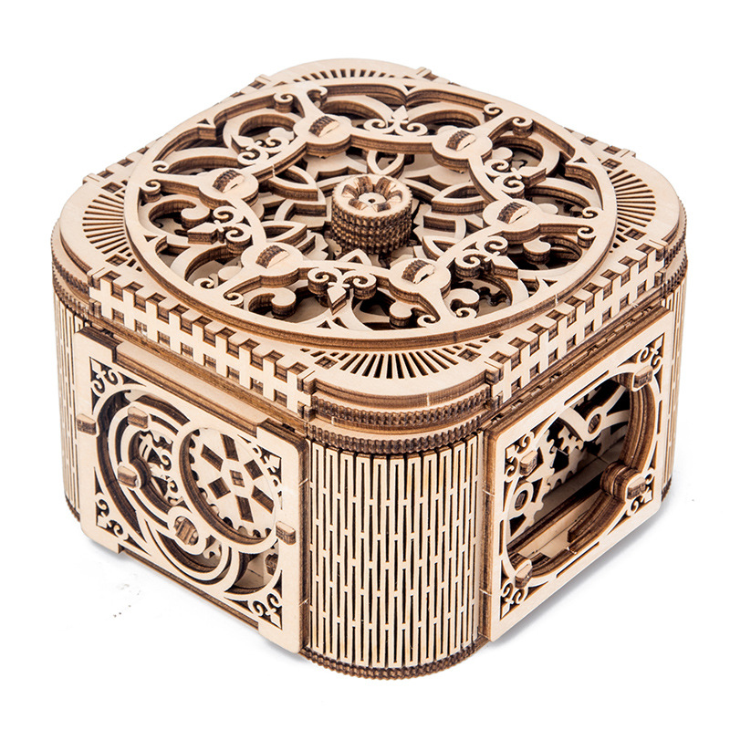 Laser Cutting Wooden Jewelry Box Assembled Creative Toy Gift Puzzle Wooden Mechanical Transmission Model Assembled Toy DIY Gift