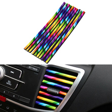 DIY 10 Pieces/set Car-styling Chrome Styling Moulding Car Air Vent Trim Strip Air Conditioner Outlet Grille Decoration U Shape auto body outlet air conditioner automobile decorative chromium car styling sticker strip 11 12 13 14 15 16 17 for bmw 5 series