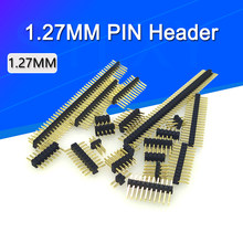 10 Uds 1,27mm Pin Header 1,27 doble fila hombre 1/2 ~ 40P escapada PCB conector de placa de Pinheader 1*3/4/5/6/7/8/10/12/15/20/40p