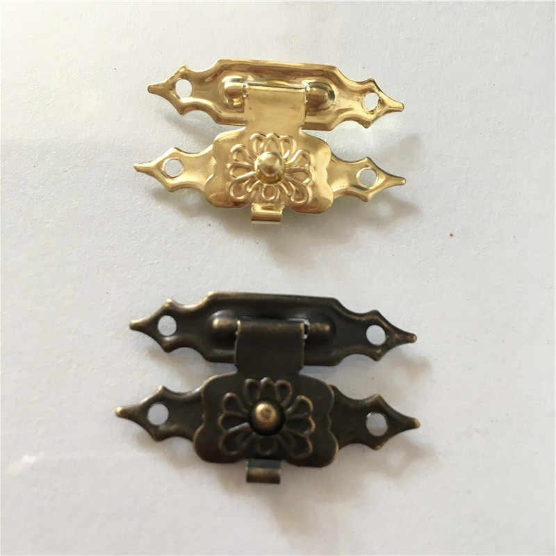 10 Pcs 30X18 Mm Besi Antik Kotak Perhiasan Gembok Pengait Terkunci Kayu Anggur Kotak Hadiah Tas Gesper Peralatan aksesoris