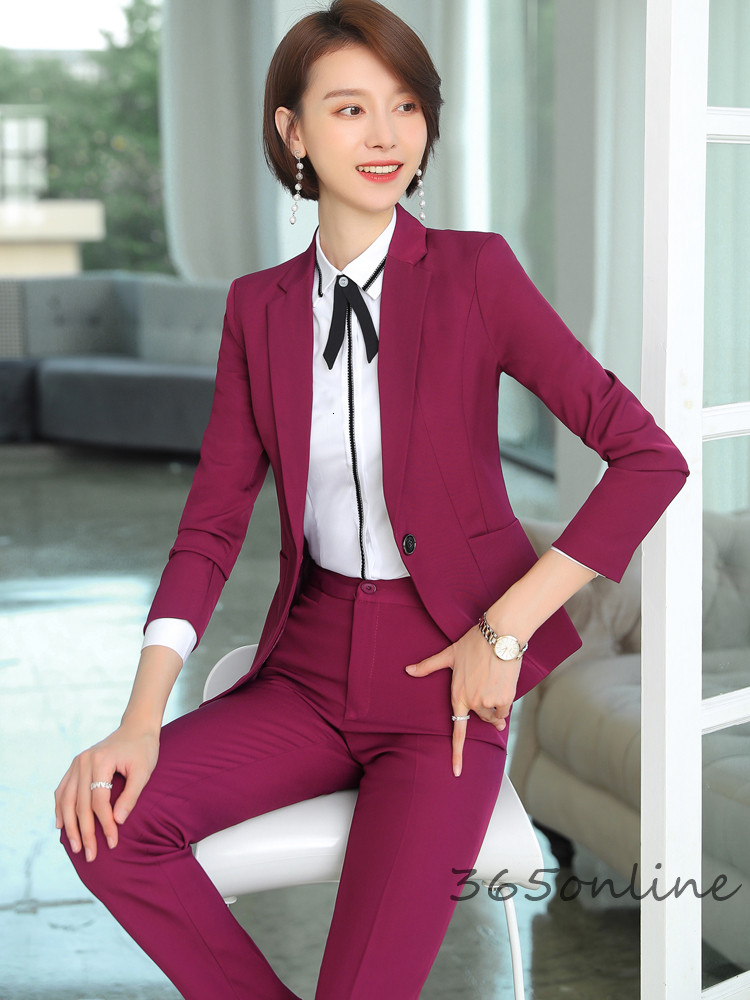 Ladies Office Autumn Winter Formal Business Suits With Pants And Jackets Coat Elegant Wine OL Styles Professional Blazers Set