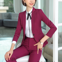 Ladies Office Autumn Winter Formal Business Suits with Pants and Jackets Coat El